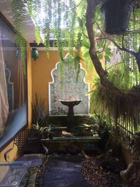 Inside a garden cafe