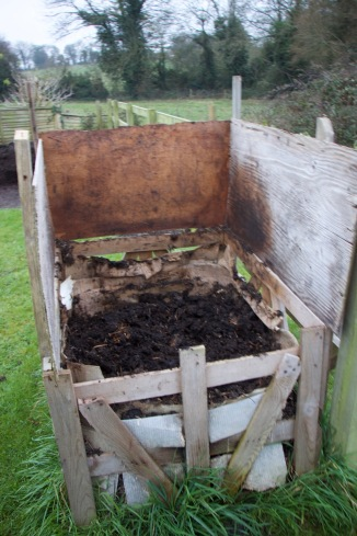 one of the separate homemade compost heaps