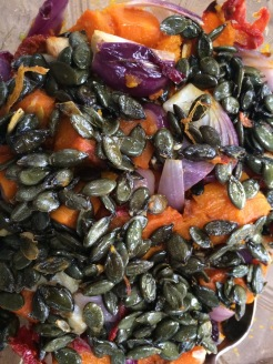 roasted squash salad with roasted pumpkin seeds