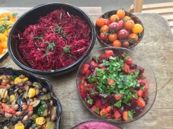 beetroot dishes and cherry tomatoes