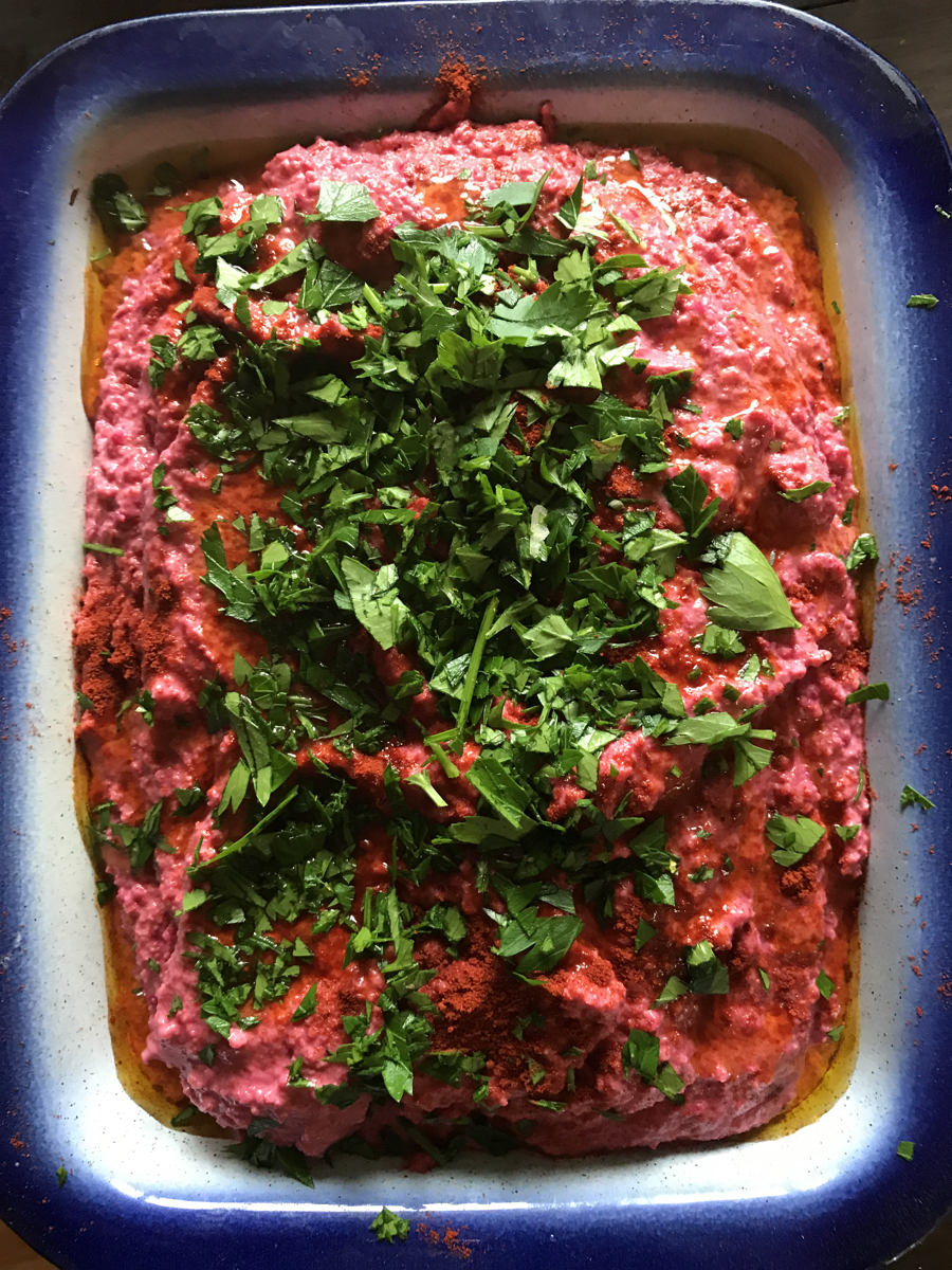 Roasted beetroot, carrot and onion hummus recipe