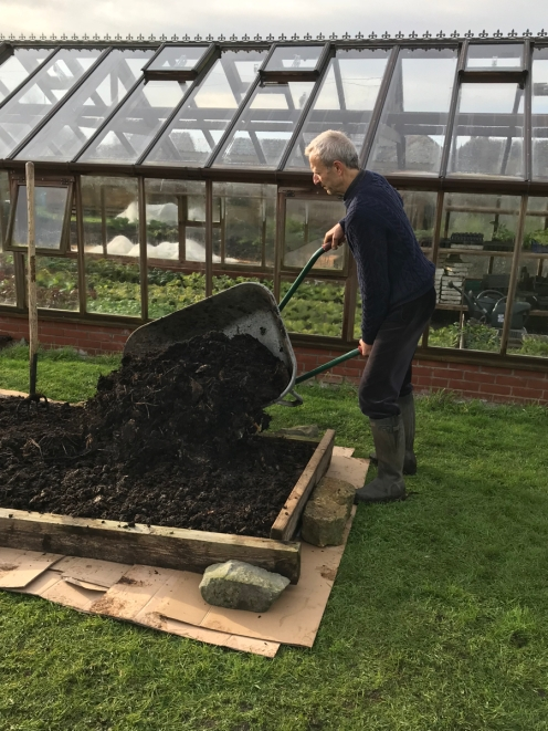 We had cardboard, we had compost, wheelbarrows and manure forks - all we needed to make a new no dig bed on weedy grass!