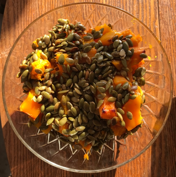 roasted squash with pumpkin seeds